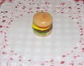 Cheese Burger Polymer Clay Charm - Mini Clay Food Charm