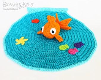 Goldfish Lovey CROCHET PATTERN instant download - blankey, blankie, security blanket