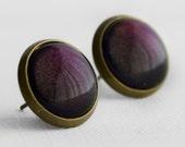 Deep Plum Post Earrings in Antique Bronze - Dark Purple Stud Earrings