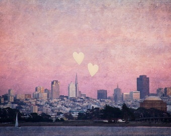 San Francisco Photography, Urban SF Print, Pink SF Skyline at Dusk, Art Print, Pink Hearts - Where We Left Our Hearts