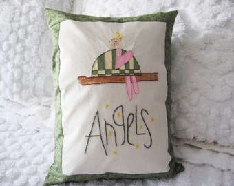 "Pillow Decorative ""Angels"" Embroidered and Hand Painted on Muslin Avocado Green Border Home Decor"
