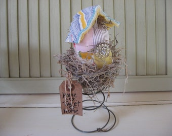Bird House Old Quilt in Old Bed Spring Grungy Tag Yellow Blue Pink White Vintage Button Shelf Sitters