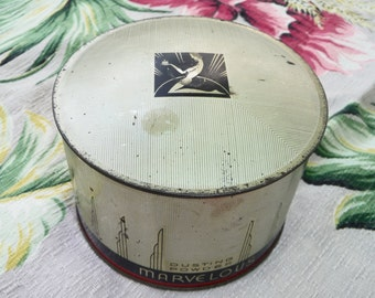 Vintage Marvelous Art Deco Dusting Powder Tin and Powder on Etsy