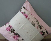 Floral and plain pink with padded patchwork squares central band with lace and button cushion cover16x16inch.pillow sham,throw cushion cover