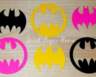 200 Batman Die Cuts - 3 Inch - Black, Hot Pink, Yellow (Cardstock, Super Hero, Superhero, Baby Shower, Batman & Robin, Batman Wedding, Girl)