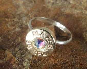 Bullet Jewelry - Blazer 38 SPL Ring - Sterling Silver Band - AB Crystal - SIZES 6, 7, 8 and  9 Available