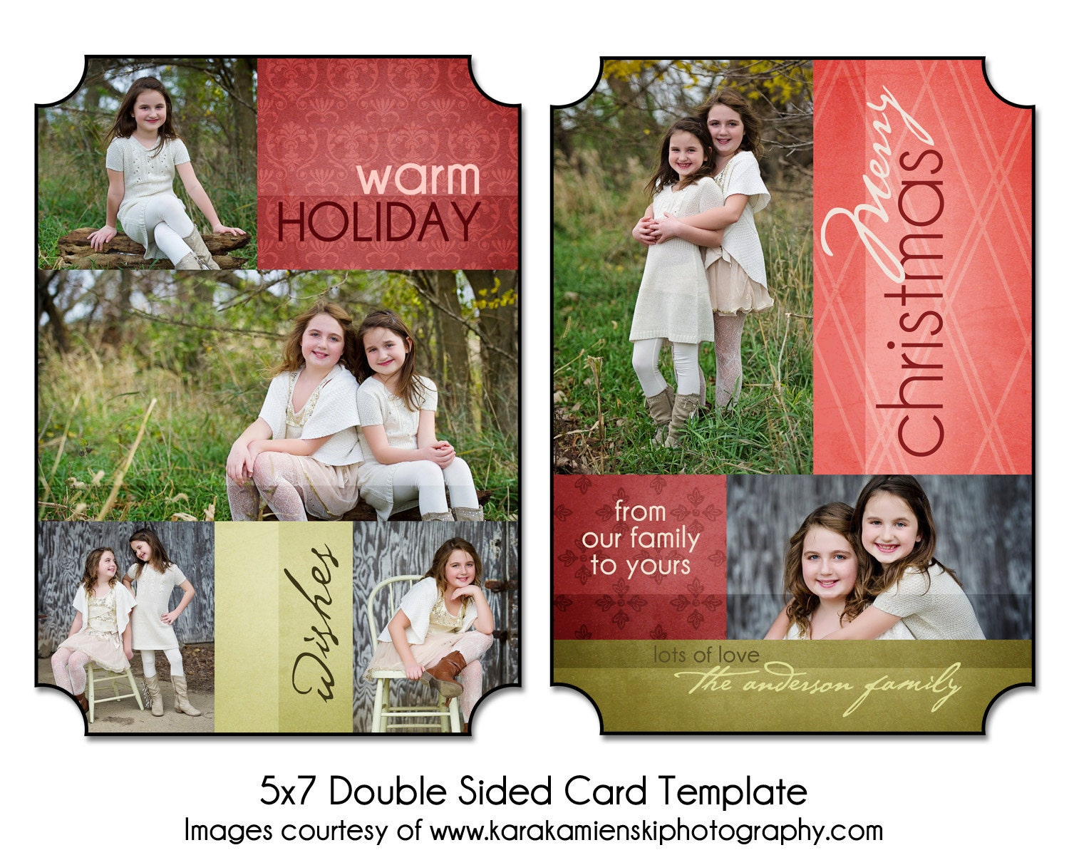 christmas card template warm holiday 5x7 double sided card. Black Bedroom Furniture Sets. Home Design Ideas