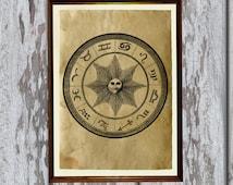 Zodiac print Occult poster Esoteric illustration Antique paper AK192