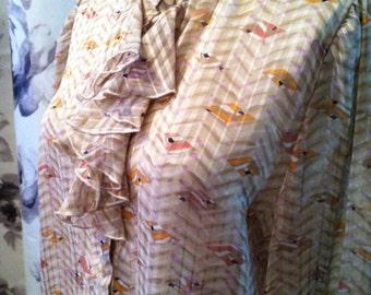 Vintage ruffled work blouse 1970