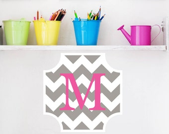 Nursery decals -  initial monogram - name decal -  chevron decal - vinyl wall decal -  wall letters