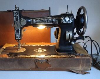 Vintage White Rotary Sewing Machine with Case - Floyd Jones Vintage