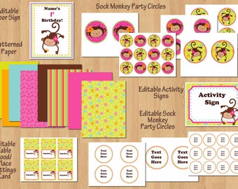 Monkey Love Birthday Party Package, Monkey Birthday Party Invite & Printables, 1st Birthday Girl or Any Age, DIY Editable WORD Files and PDF