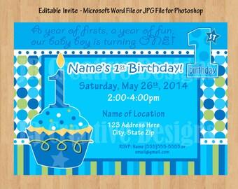 boy birthday invitation 1st birthday party package Boy 1st birthday boy birthday party Sweet Cupcake Blue Green printable WORD PDF File DIY