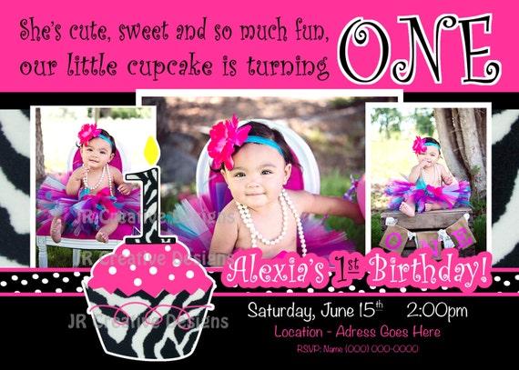 Cupcake invitation cupcake invite hot pink black white leopard print il570xn filmwisefo