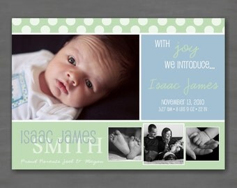 Baby Boy Photo Birth or Adoption Announcement; Blue, Green Polka Dots