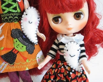 Ghost Plushy for Middie or Neo Blythe Dolls Halloween Felt Miniature White Ghost Toy
