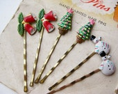 6 Vintage 50s NOS Christmas Tree Holly Bells & Snowman Enamel Bobby Pins on Original Card