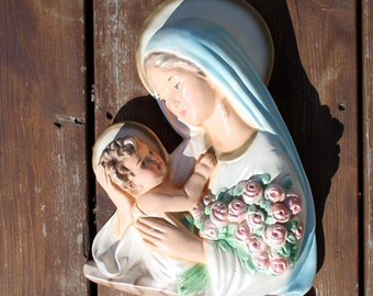 Madonna and Child Wall Art, Mary and Jesus Large Bust Mother Holding Child