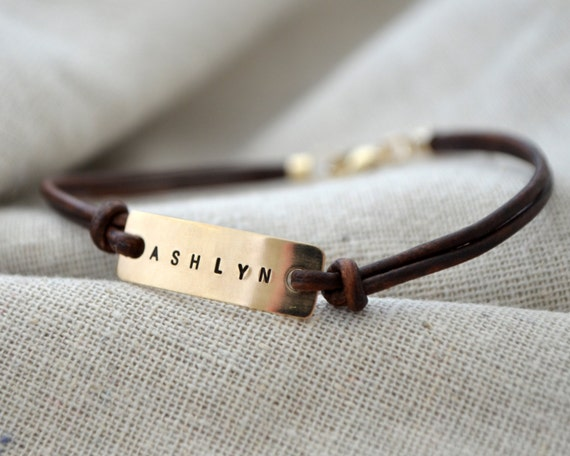 Gold Personalized Bracelet - Leather - Customize with your own word or name