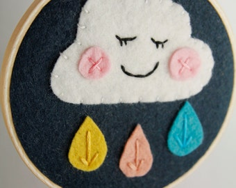 Nursery Wall Art / Rain Cloud / Felt Applique / Embroidery Hoop Art / Gift for Her / Modern Embroidery / Gift for Baby / Baby Girl Nursery