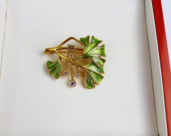 Signed Joan Rivers Modern Floral  enamel brooch/pin