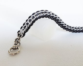 Byzantine Chainmaille Silver and Black Striped Bracelet - Chainmaille Jewelry, Chainmaille Bracelet, Chain maille, Chainmale