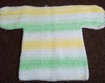Crochet T shaped baby jumper in white, yellow and green, size 18 inch