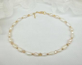 14k Gold Cross White Pearl Anklet Pearl White Pearl Ankle Bracelet Gold Crystal Anklet Crystal Gold Anklet Gold Filled NOT PLATED Buy3+1Free