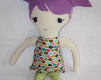 Handmade Rag Doll, Personalized Plush, Custom Made Doll - Purple Pigtails Option - Shirt and leggings Option