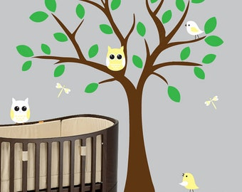 Nursery wall decals green leaf tree decal yellow owls and birds wall sticker - 0392
