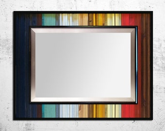 "SALE! Reg. 525.00 - Reclaimed Wood Mirror - ""Gradient Reflection"" - Reclaimed Wood Stripes - 40""x34"" - Modern Wood Wall Art - Functional Art"