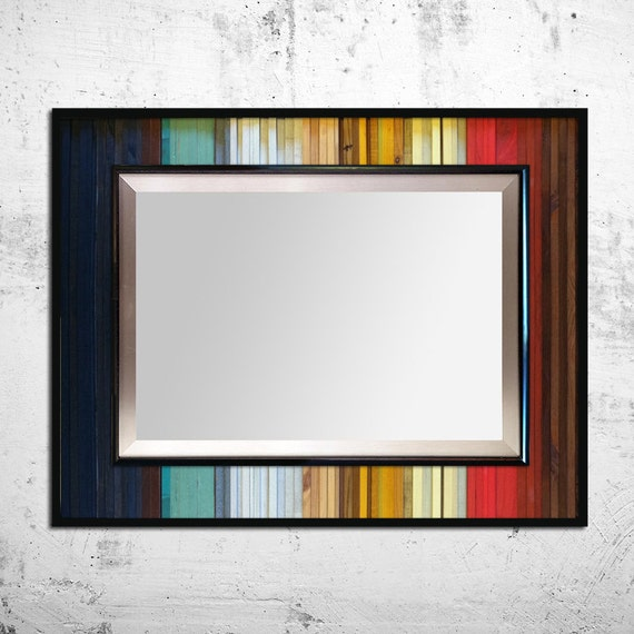 Reclaimed wood mirror gradient reflection by scrapwooddesign Where can i buy reclaimed wood near me