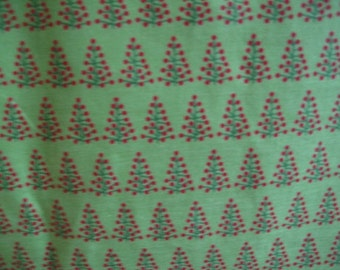 3/4 of Cotton Fabric with Christmas Trees in Green and Red