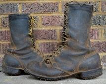 Vintage Wesco Packer Jobmaster Cork Logger Black Leather Work Boots size 10