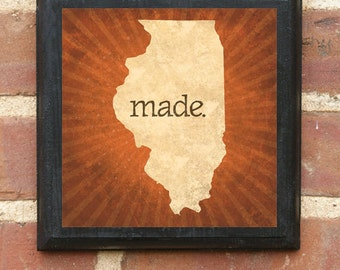 illinois il made wall art sign plaque gift present personalized color custom home decor chicago aurora