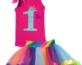 Baby Girls 1st Birthday Tutu, Rainbow Tutu Set, Rainbow 1st Birthday, 1st Birthday Party, Baby Girls Rainbow Birthday Set,Personalized Shirt