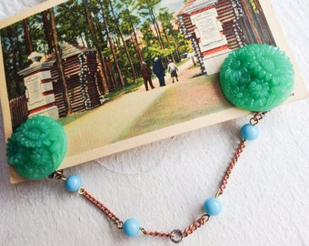 Sweater Chain or Collar Clip- Green Floral and Blue Bead- Vintage and New Findings