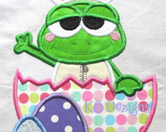 Easter Frog With Broken Egg Machine Applique Embroidery Design - 4x4, 5x7 & 6x8