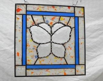 Beveled Butterfly Stained Glass Window Panel, Suncatcher or Glass Yard Art, Hostess Gift, Unique Window Treatment, Garden Flag, Garden Decor