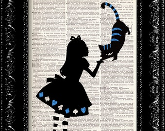 Alice In Wonderland Holds The Cheshire Cat Blue Vintage Dictionary Print Vintage Book Print Page Art Upcycled Vintage Book Art