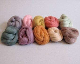 Merino Wool Bundle - Pastels - Needle Felting Craft Material - 100g pack - Pastel Soft Colours