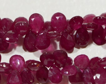 Ruby 8.6x7.5x3.4mm 2 Beads Natural  Faceted Teardrop Beads Natural Gemstone Beads Jewelry Making Supplies