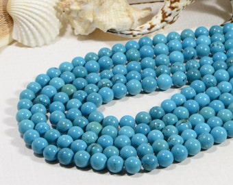 "Turquoise 9mm 7 3/4"" Strand Natural Gemstone Beads Jewelry Making Supplies Turquoise Beads"