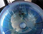 16in Metallic Cobalt Blue Hand Painted Graffiti Style Glass Bathroom Vessel Sink Basin Hand Made 3