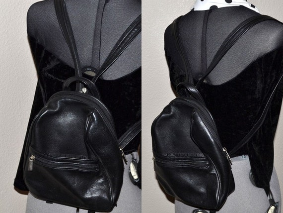 80s Vintage Wilsons Leather black leather small backpack