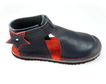 Handmade leather children's shoes, toddler shoes, sandals, navy and red kids shoes