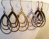 Triple Teardrop Hoop Earrings - Choose Your Finish!