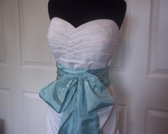 Bridal Sash - Vintage Mint Taffeta Sash - Vintage Ribbon Sash - OOAK Bridal Belt - Seafoam Sash