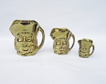 Vintage Brass Plated Toby Jug, Toby Jug Set of 3, UK Seller