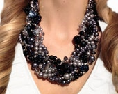 ORIGINAL TWISTED, Statement Necklace, Black, Gray, Graphite, Silver, Bold, Chunky, Multi-strand, Sparkle, Pearls, Jewelry by Jessica Theresa